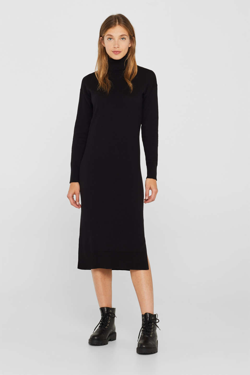 Wool blend: midi dress with a polo neck, BLACK, detail image number 0