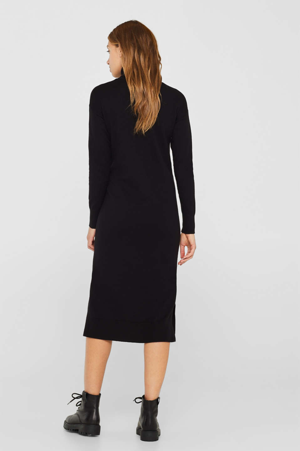 Wool blend: midi dress with a polo neck, BLACK, detail image number 2