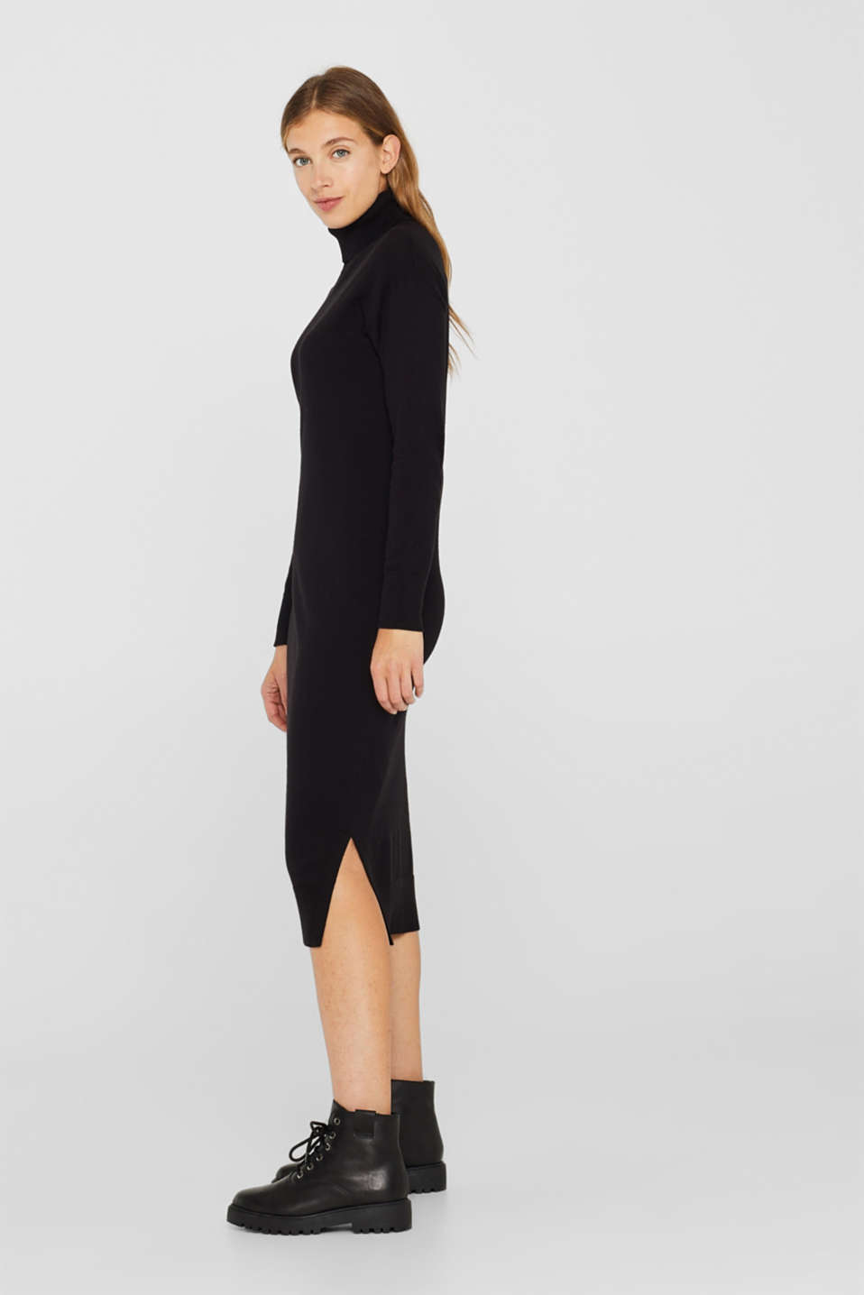 Wool blend: midi dress with a polo neck, BLACK, detail image number 4