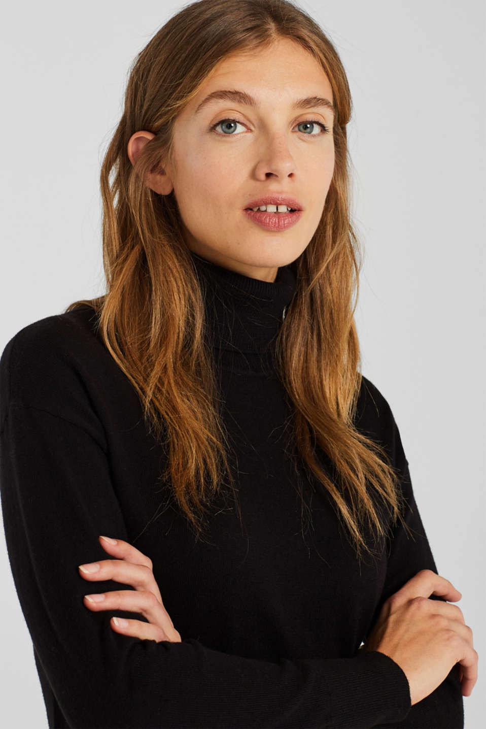 Wool blend: midi dress with a polo neck, BLACK, detail image number 6