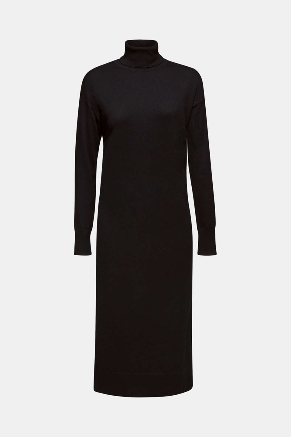 Wool blend: midi dress with a polo neck, BLACK, detail image number 7
