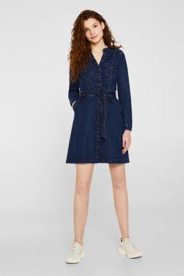 Stretch denim dress, BLUE DARK WASH, detail