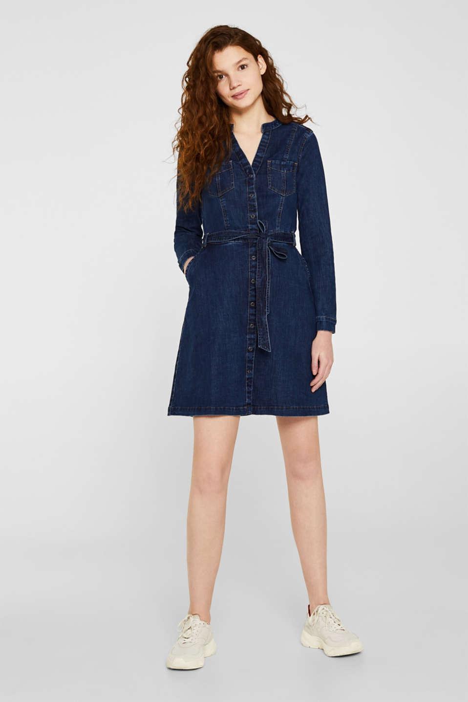 Stretch denim dress, BLUE DARK WASH, detail image number 1