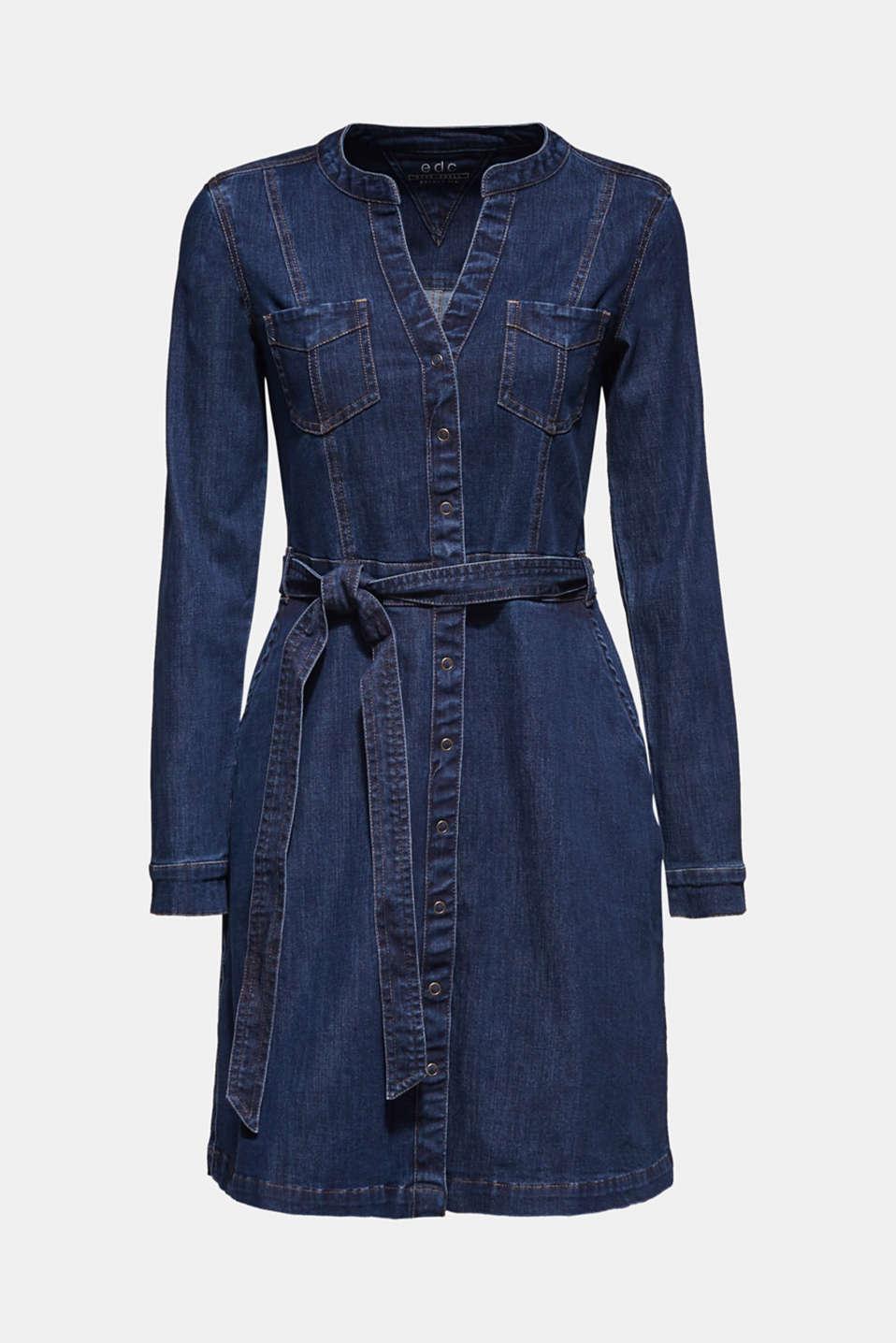 Stretch denim dress, BLUE DARK WASH, detail image number 7
