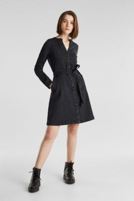 Stretch denim shirt blouse dress, BLACK DARK WASH, detail
