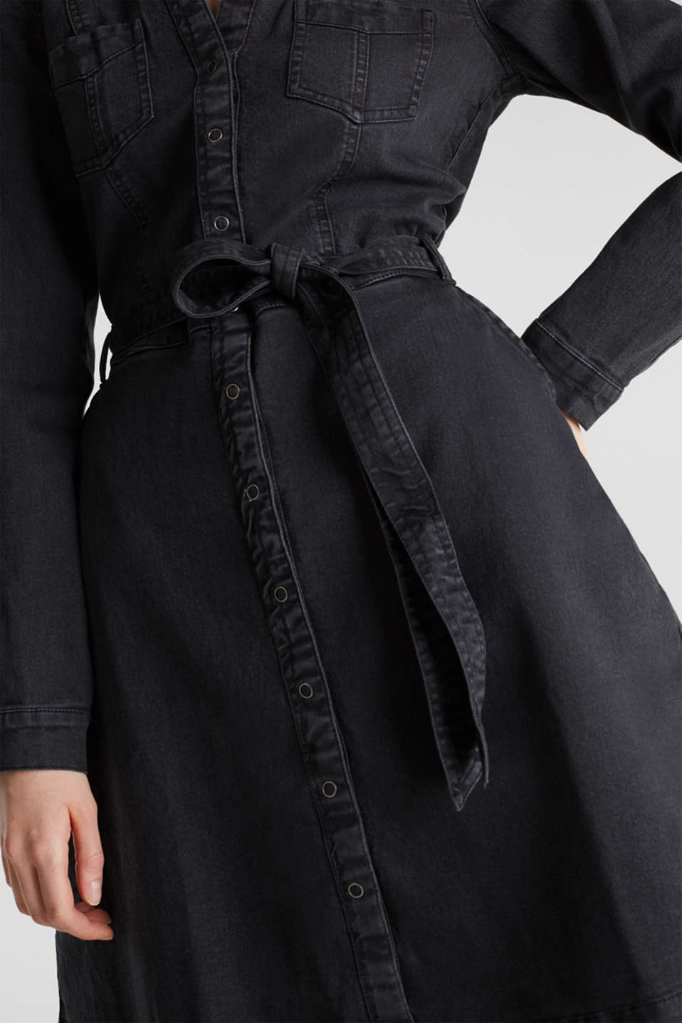 Stretch denim shirt blouse dress, BLACK DARK WASH, detail image number 3