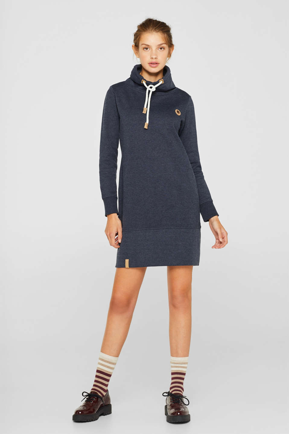 edc - Sweatshirt dress with a drawstring collar