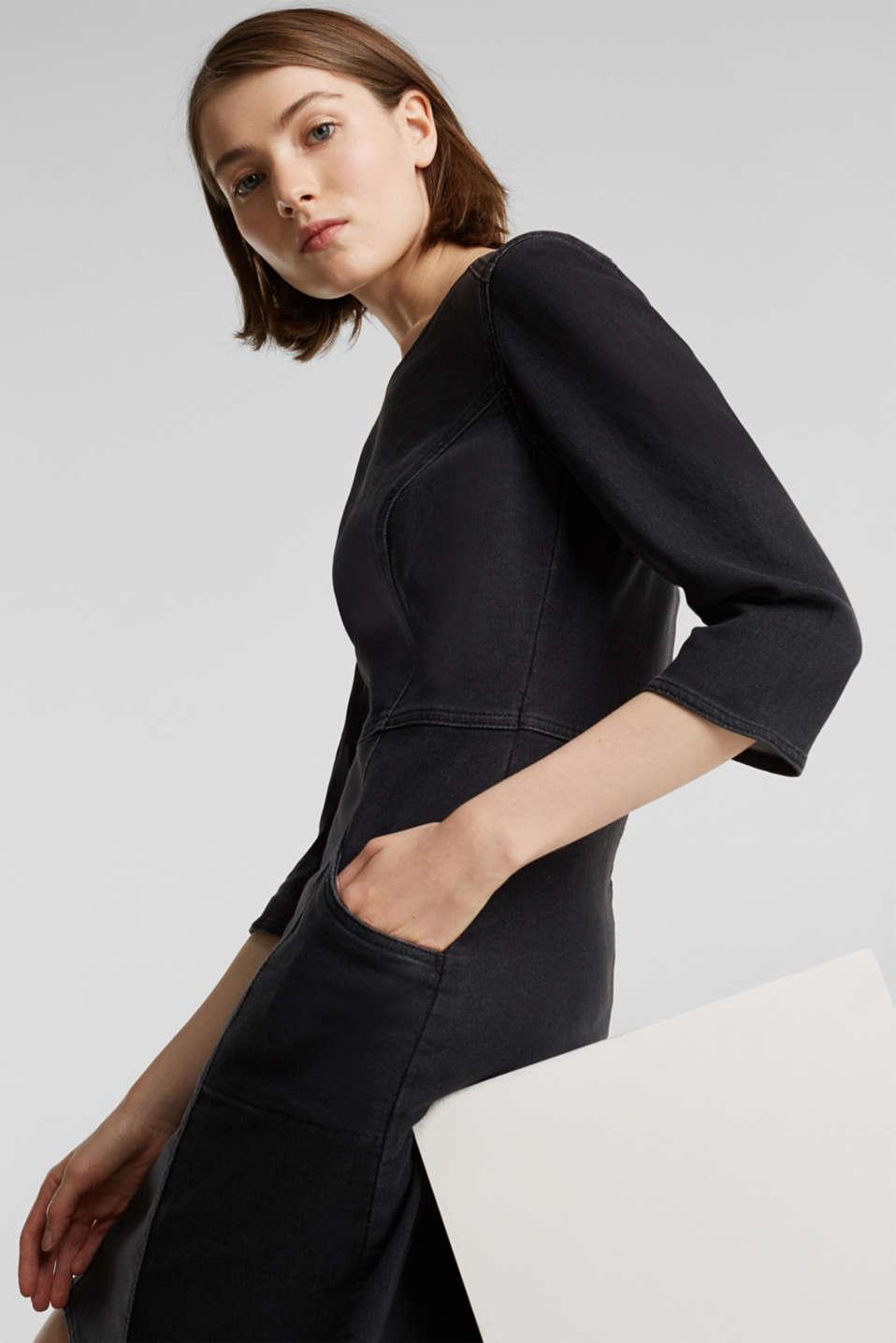 Stretch dress made of denim tracksuit fabric, BLACK DARK WASH, detail image number 1