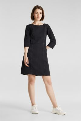 Stretch dress made of denim tracksuit fabric, BLACK DARK WASH, detail