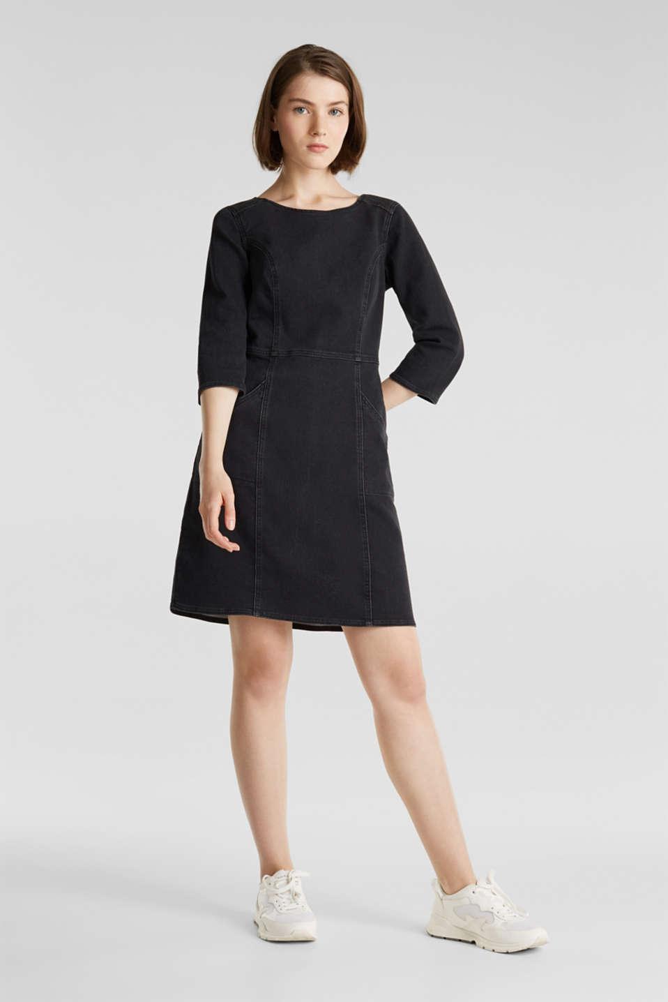 Stretch dress made of denim tracksuit fabric, BLACK DARK WASH, detail image number 0