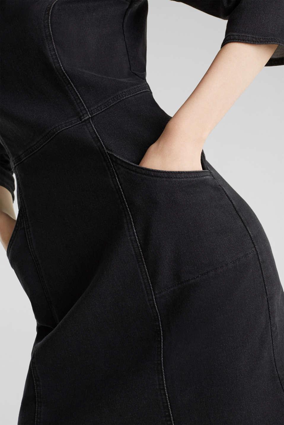 Stretch dress made of denim tracksuit fabric, BLACK DARK WASH, detail image number 3