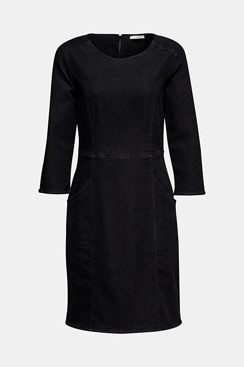 Stretch dress made of denim tracksuit fabric