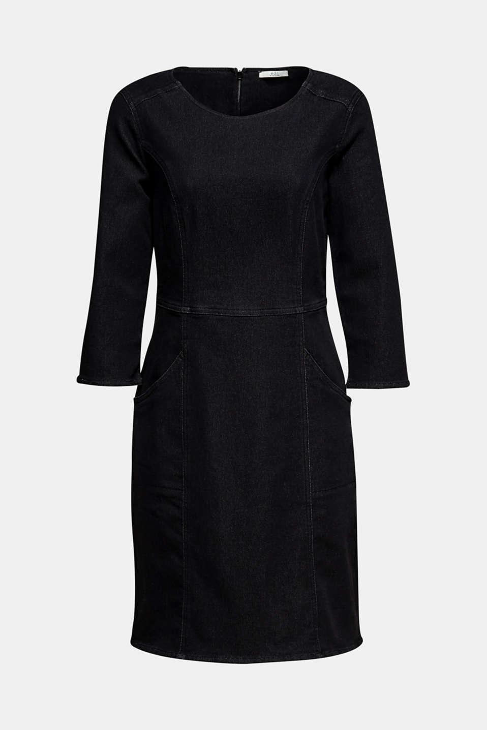 Stretch dress made of denim tracksuit fabric, BLACK DARK WASH, detail image number 4