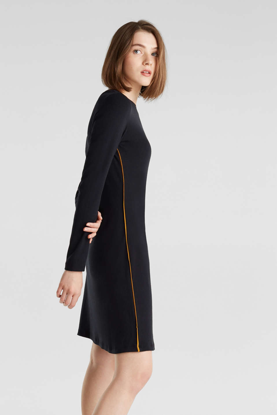 Piped stretch jersey dress, BLACK, detail image number 0