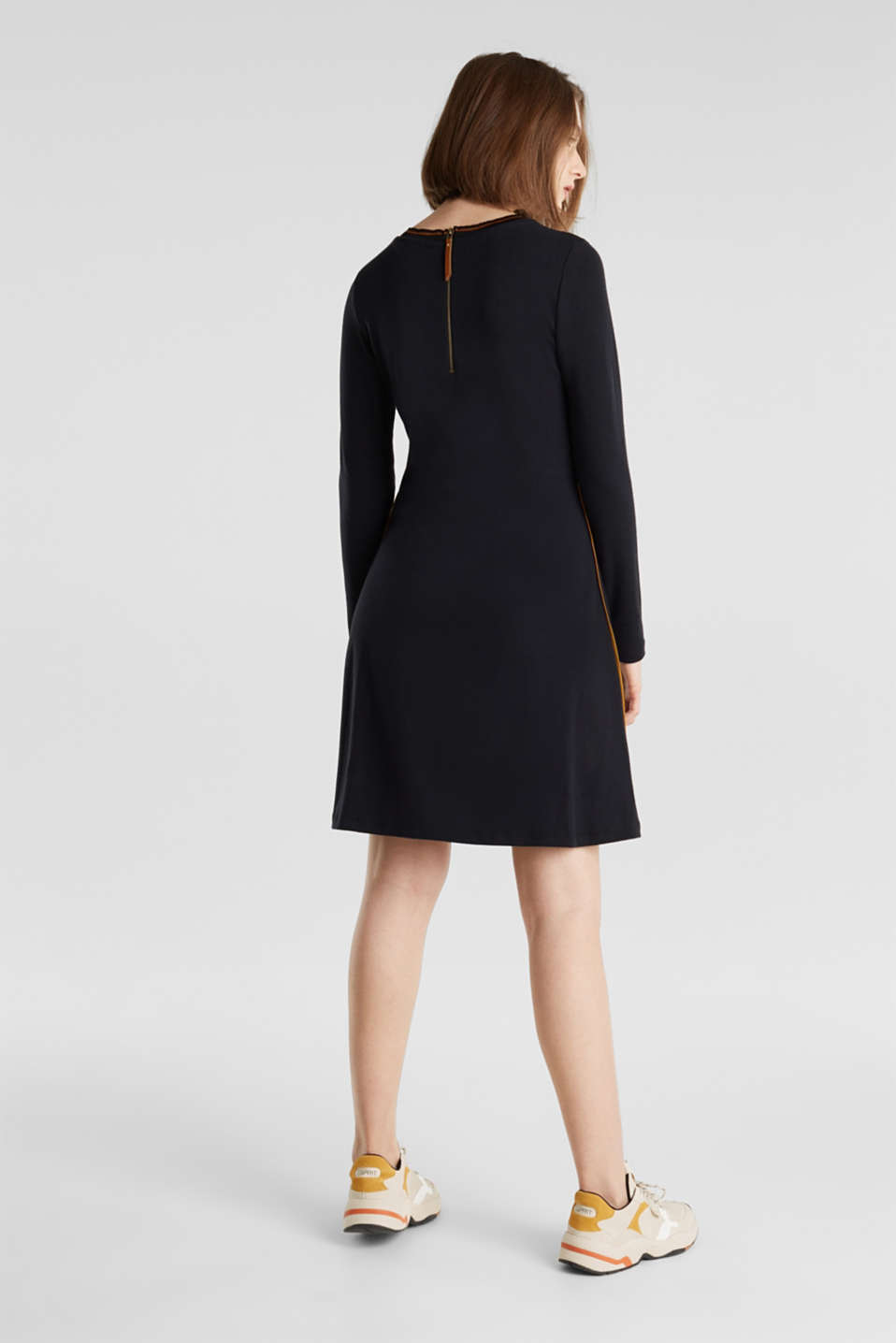 Piped stretch jersey dress, BLACK, detail image number 2
