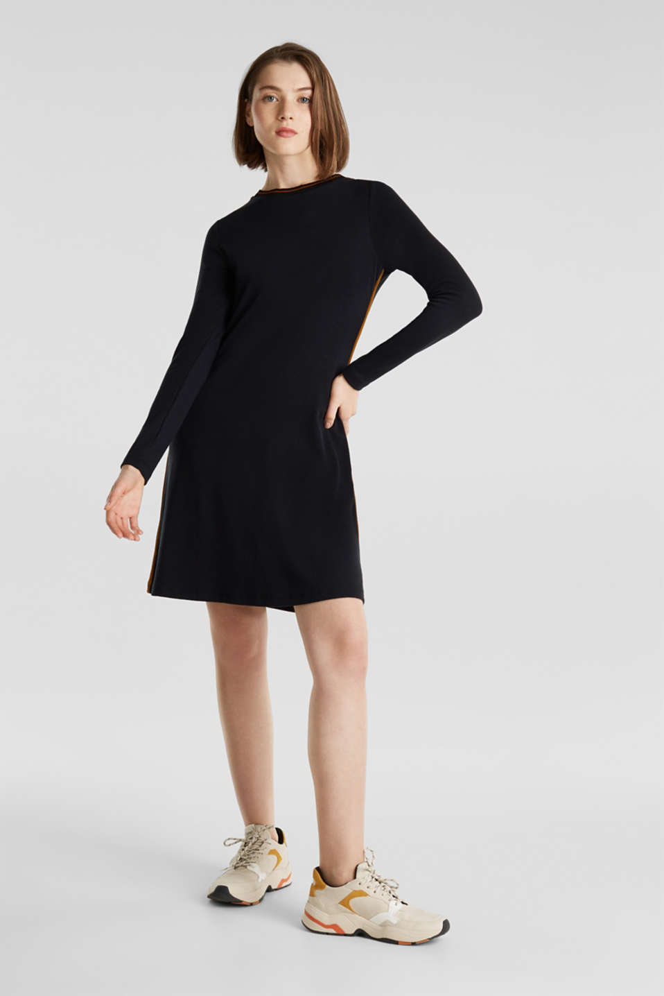 Piped stretch jersey dress, BLACK, detail image number 1