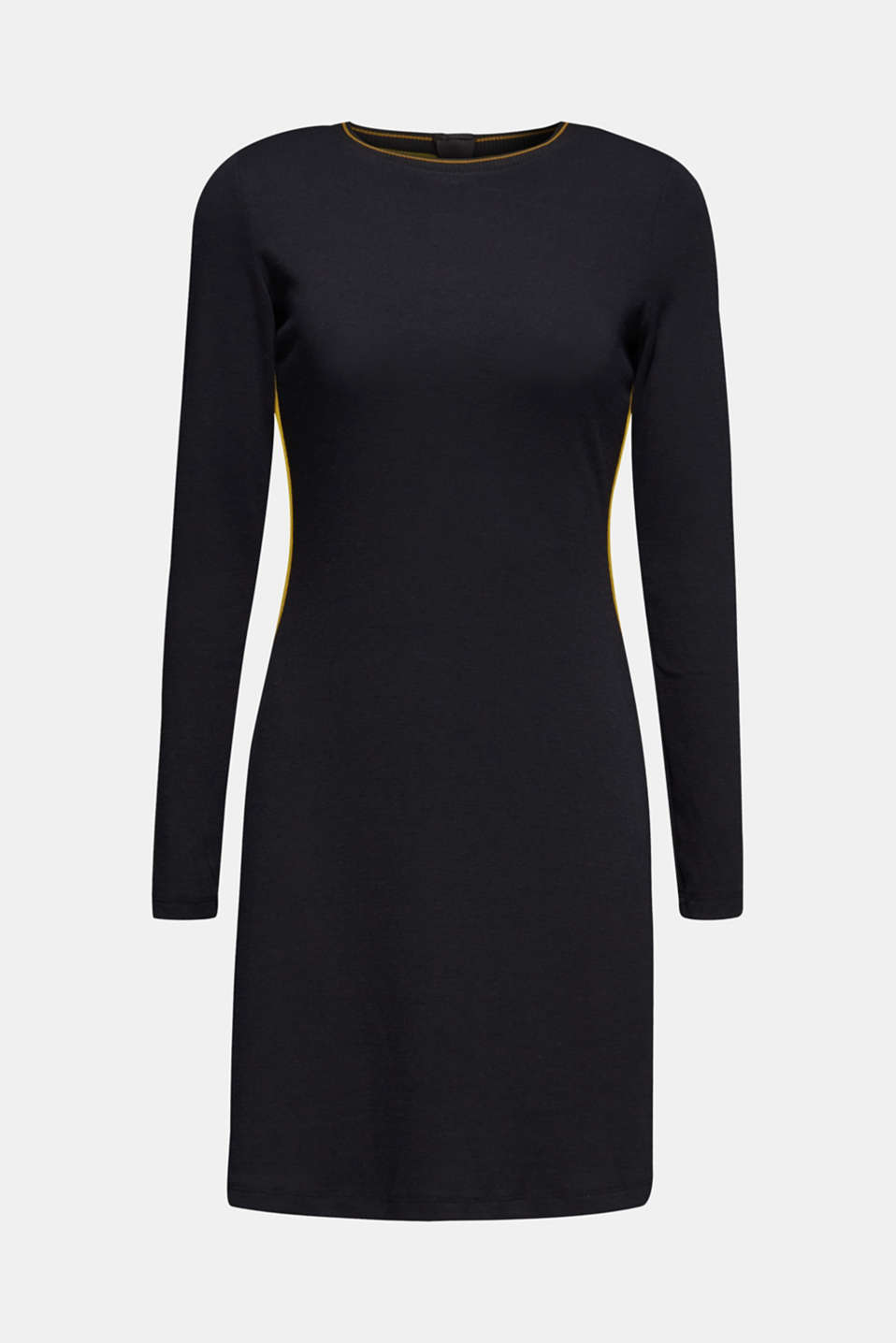 Piped stretch jersey dress, BLACK, detail image number 5