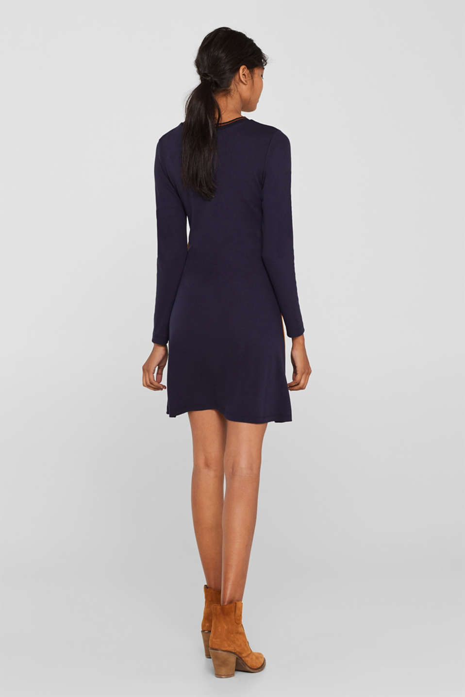Piped stretch jersey dress, NAVY, detail image number 2