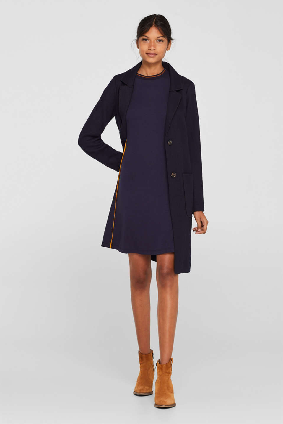 Piped stretch jersey dress, NAVY, detail image number 1