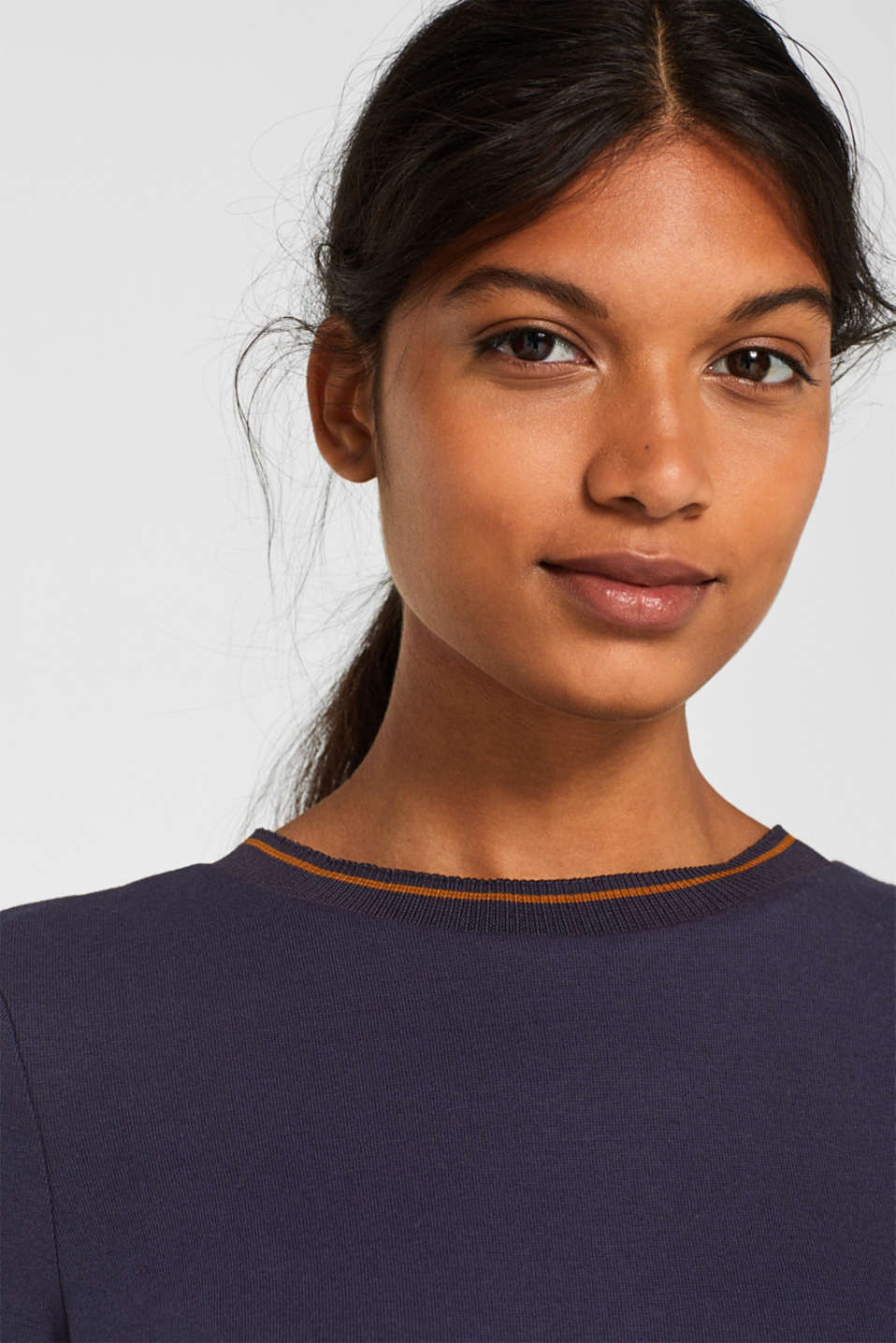 Piped stretch jersey dress, NAVY, detail image number 3
