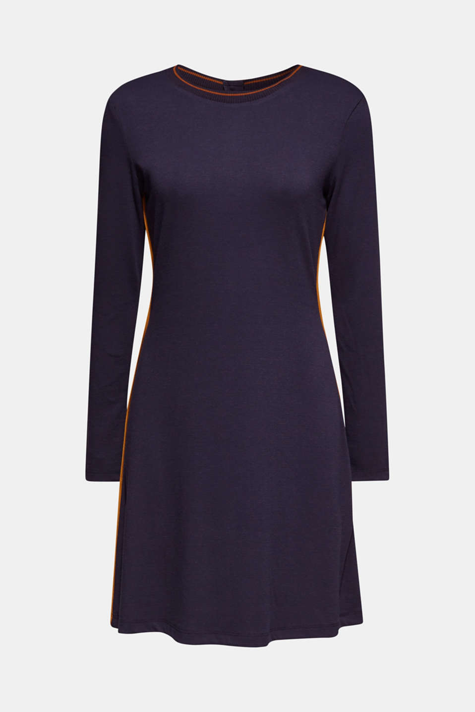 Piped stretch jersey dress, NAVY, detail image number 5