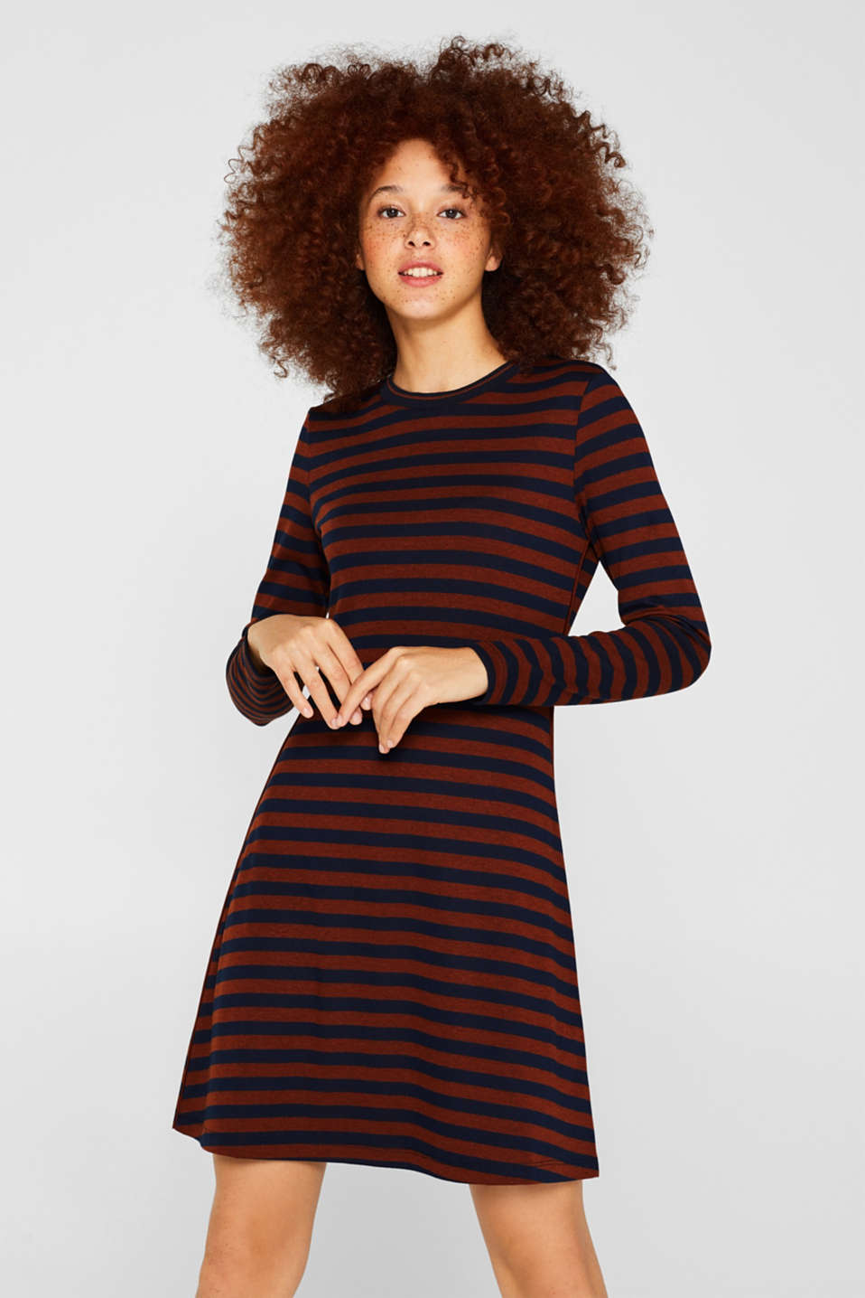 Striped stretch jersey dress, RUST BROWN, detail image number 0