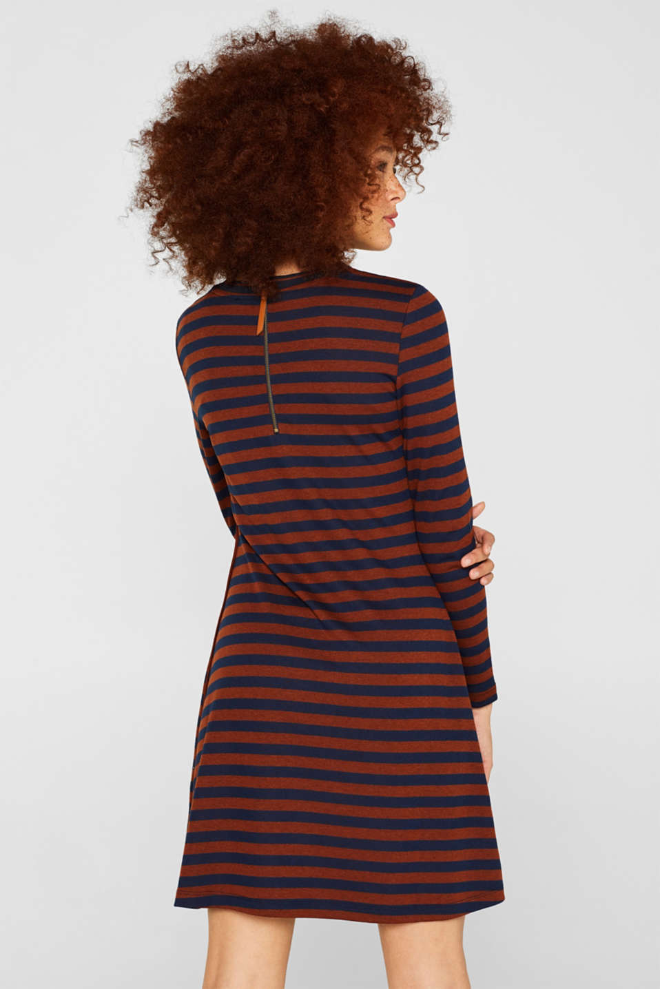 Striped stretch jersey dress, RUST BROWN, detail image number 2