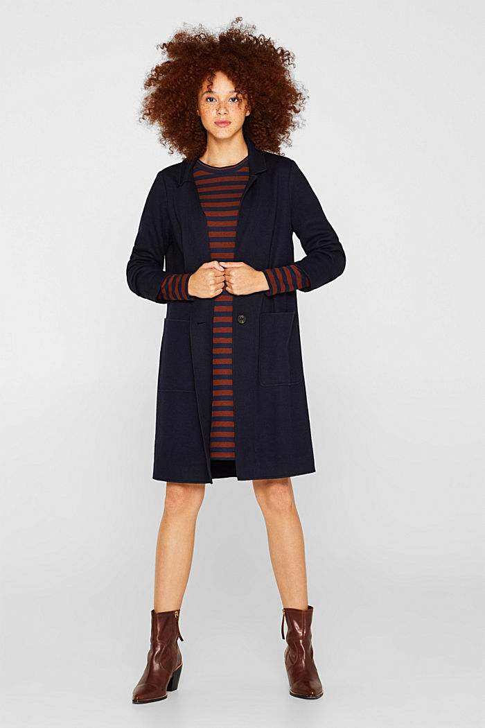 Striped stretch jersey dress, RUST BROWN, detail image number 1