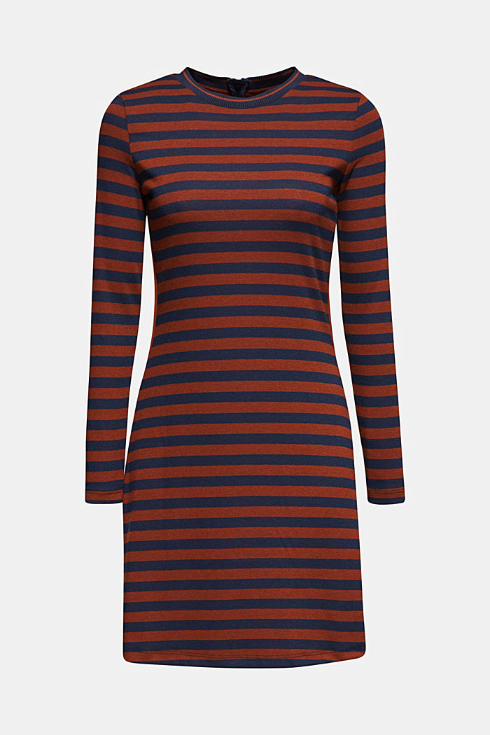 Striped stretch jersey dress, RUST BROWN, detail image number 5