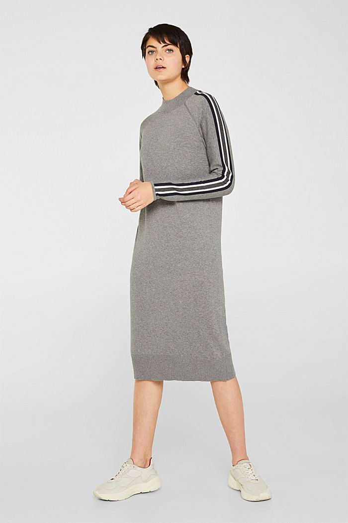Knit dress with racing stripes, GUNMETAL, detail image number 0