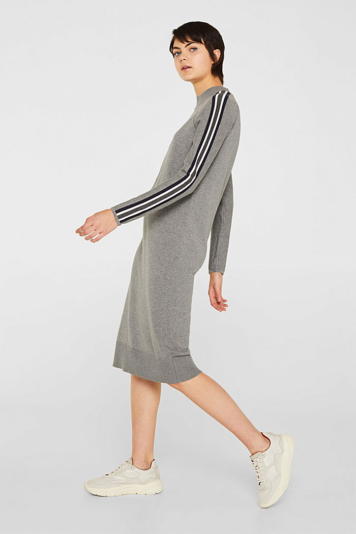 Knit dress with racing stripes, GUNMETAL, detail image number 1