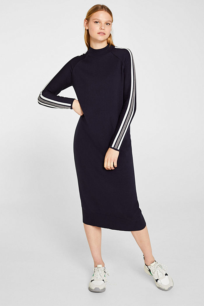 Knit dress with racing stripes, NAVY, detail image number 0