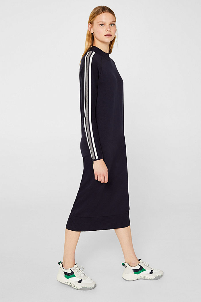 Knit dress with racing stripes, NAVY, detail image number 1