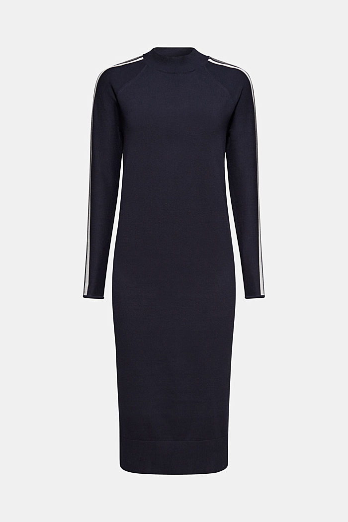 Knit dress with racing stripes, NAVY, detail image number 6