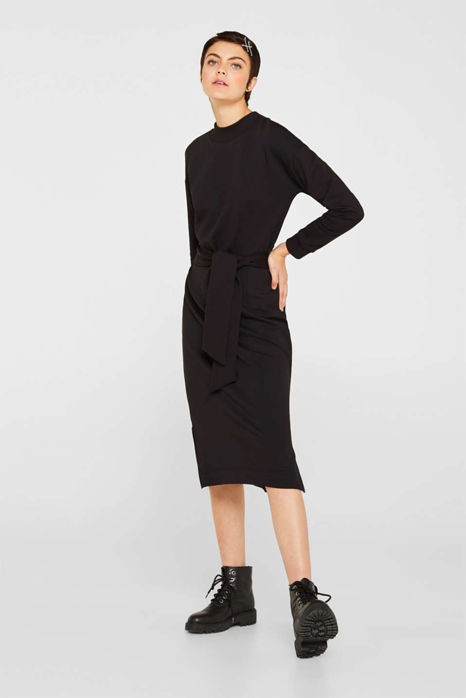 Sweatshirt dress with a belt, BLACK, detail image number 0