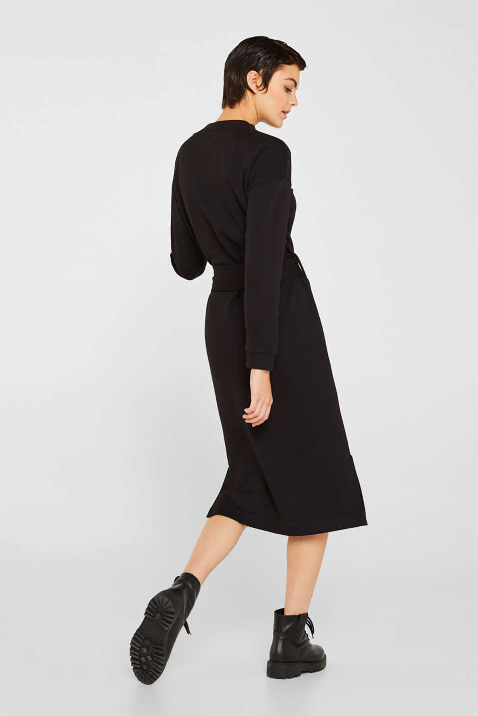 Sweatshirt dress with a belt, BLACK, detail image number 2