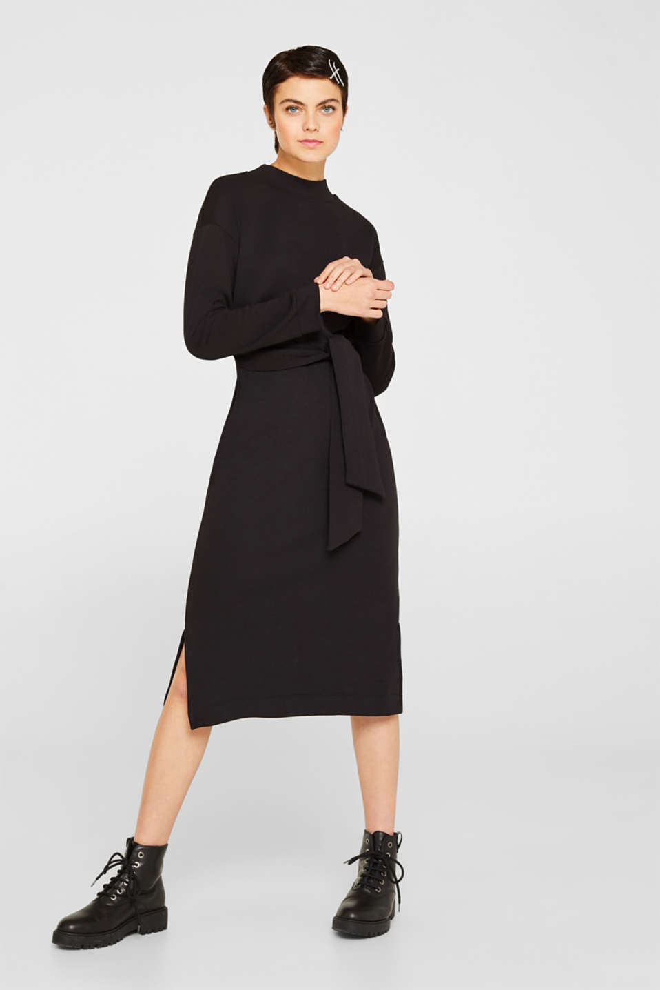 Sweatshirt dress with a belt, BLACK, detail