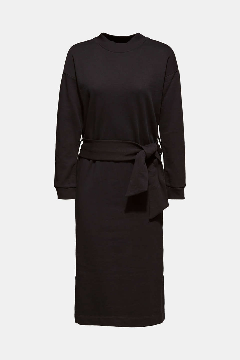 Sweatshirt dress with a belt, BLACK, detail image number 6