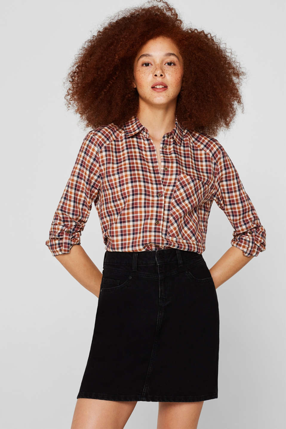 edc - Check shirt blouse with organic cotton