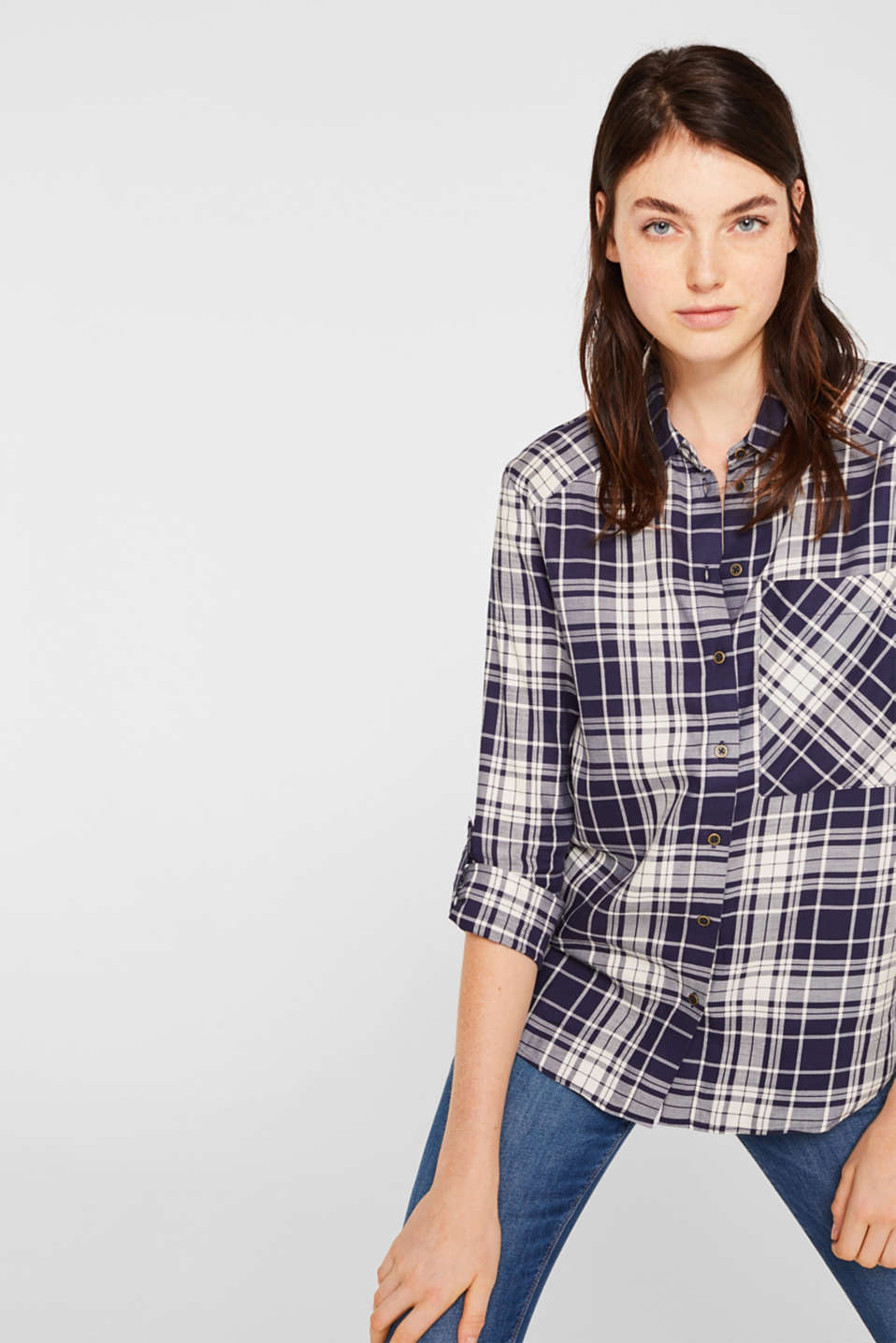 edc - Checked shirt blouse with a pocket