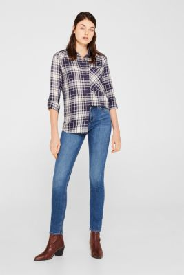Checked shirt blouse with a pocket, NAVY, detail