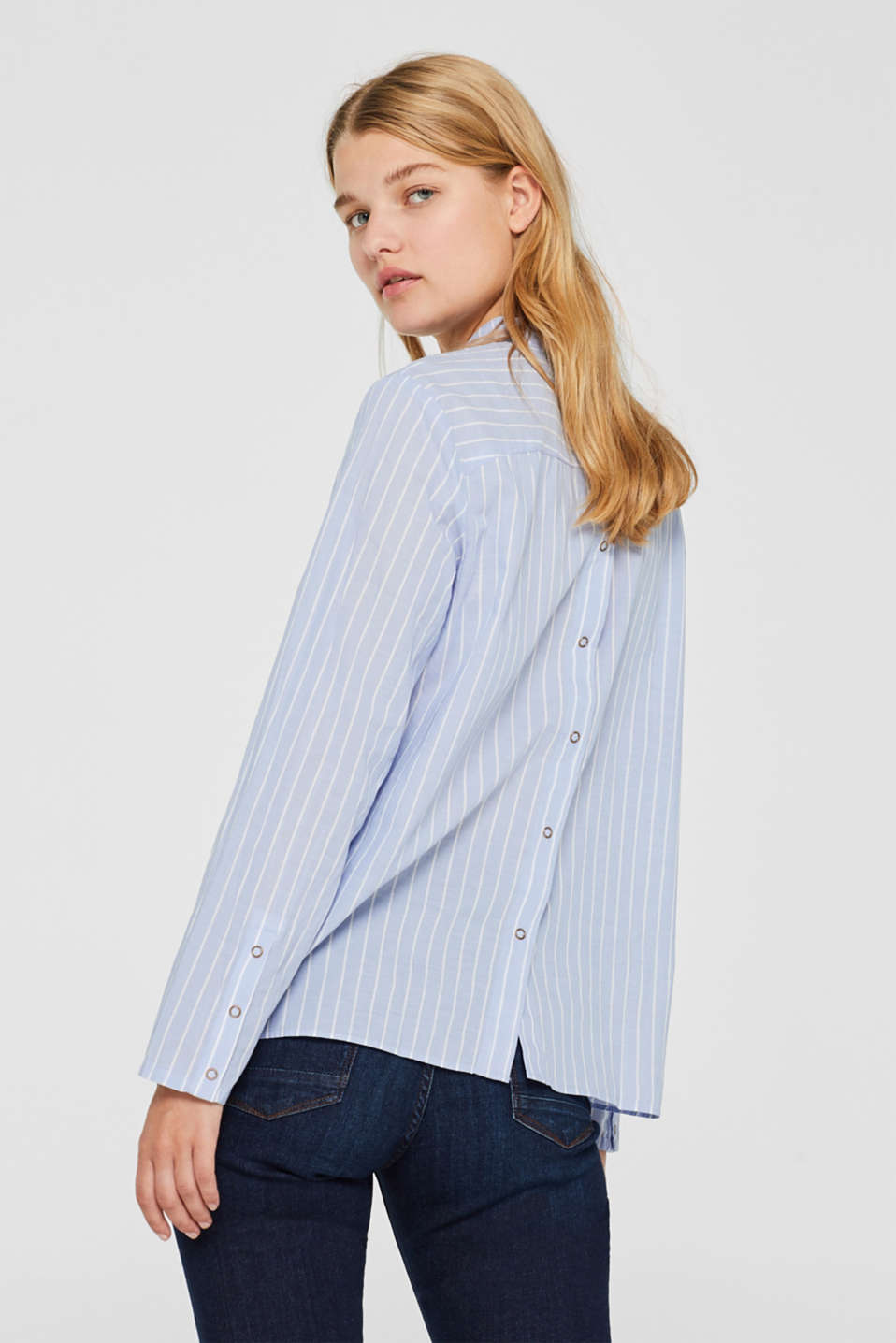 Blouse with a button placket at the back, LIGHT BLUE, detail image number 2