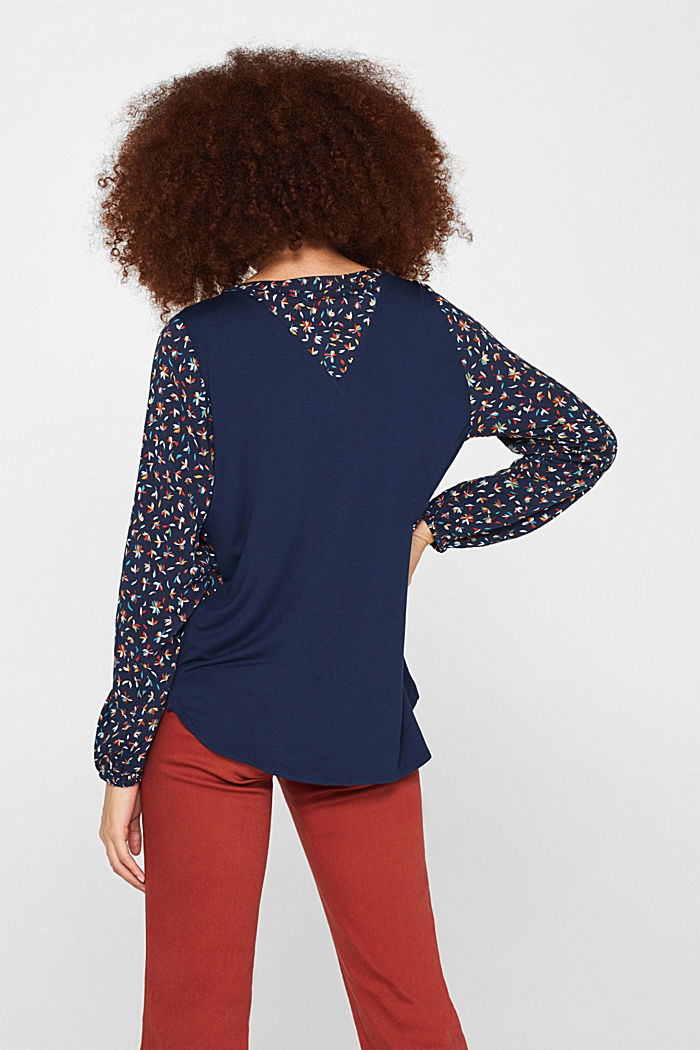Mixed material blouse, NAVY, detail image number 3