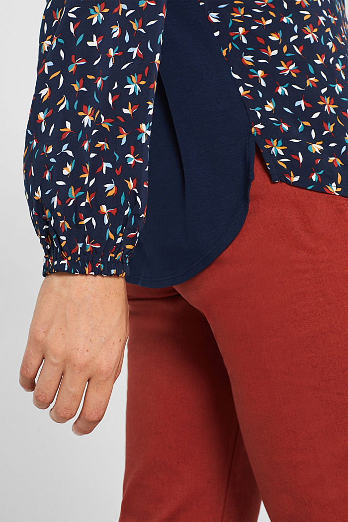 Mixed material blouse, NAVY, detail image number 2