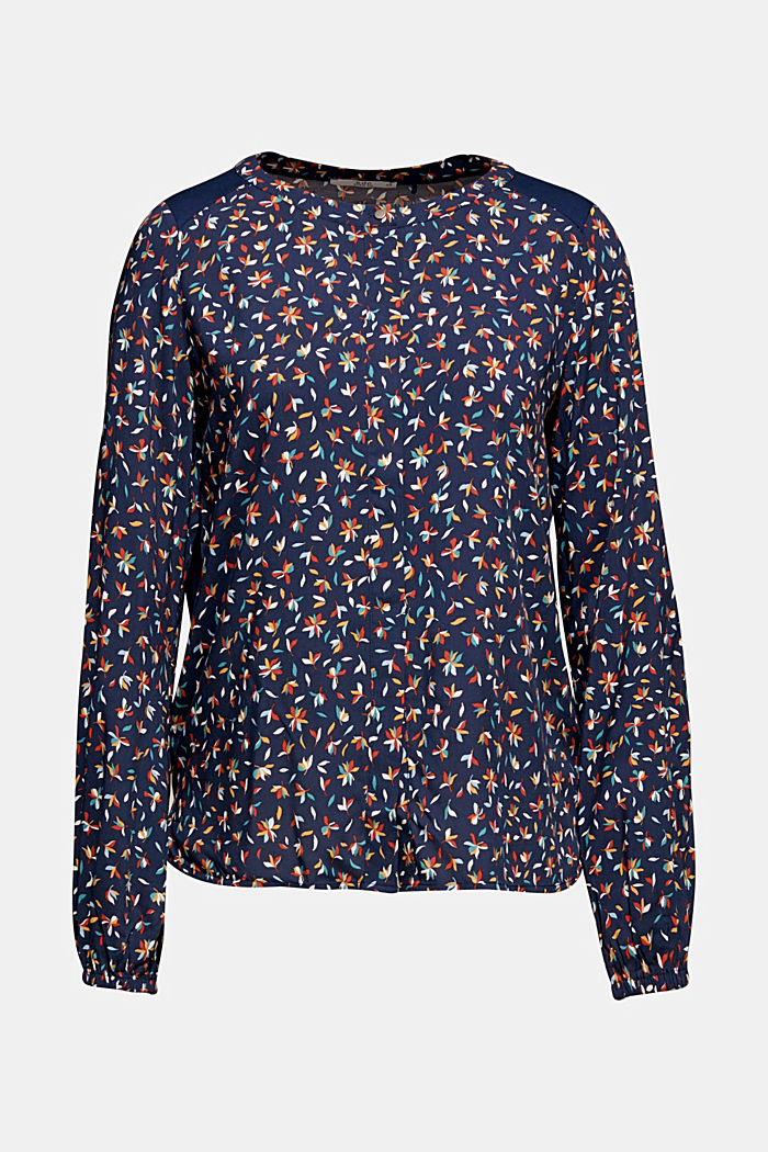 Mixed material blouse, NAVY, detail image number 7