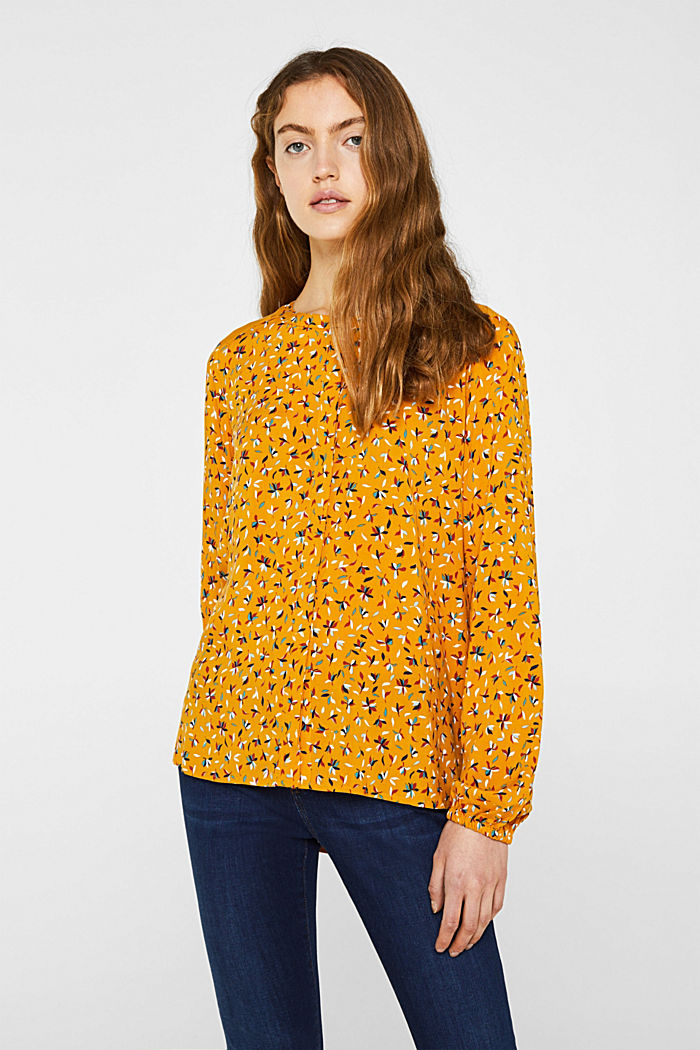 Mixed material blouse, HONEY YELLOW, detail image number 0