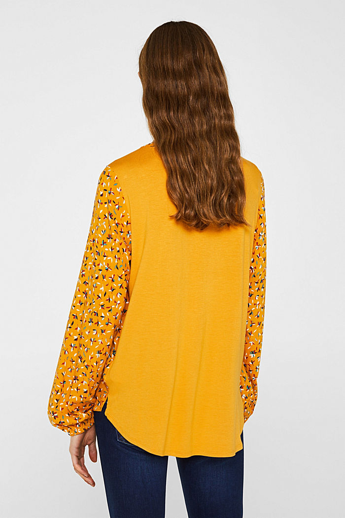 Mixed material blouse, HONEY YELLOW, detail image number 2