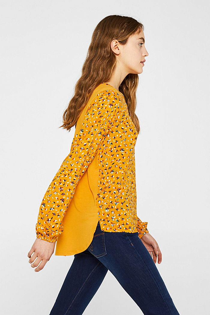 Mixed material blouse, HONEY YELLOW, detail image number 4