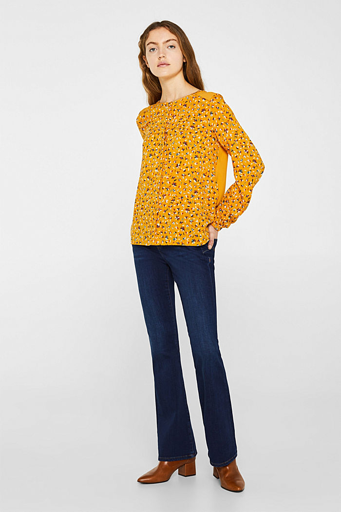 Mixed material blouse, HONEY YELLOW, detail image number 1