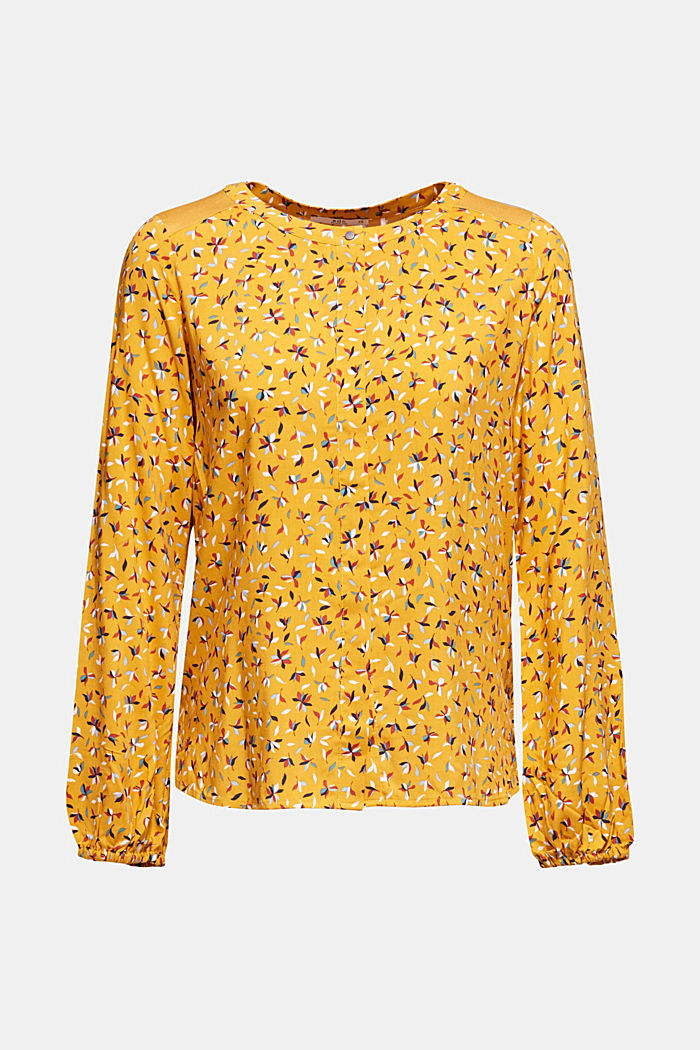 Mixed material blouse, HONEY YELLOW, detail image number 6